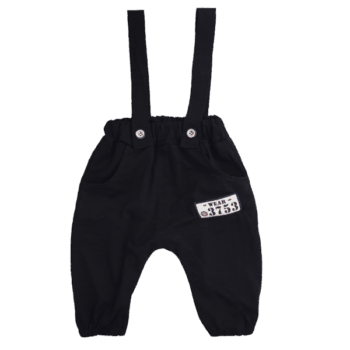 Baby Black Pants with Button Suspenders