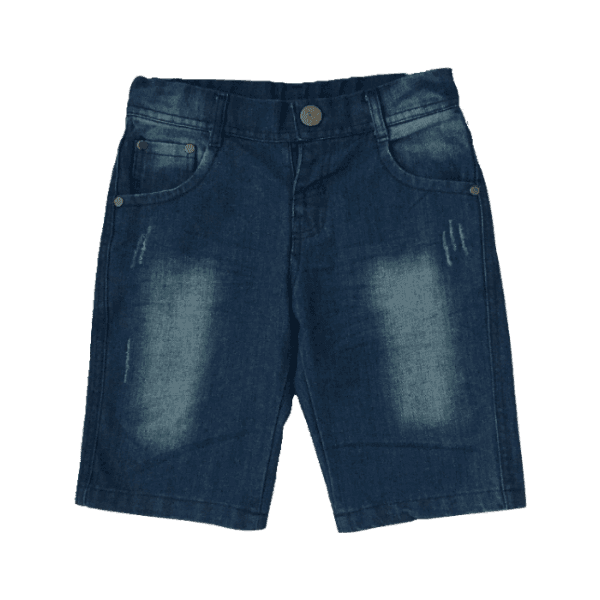 Blue denim shorts for kids (front view)