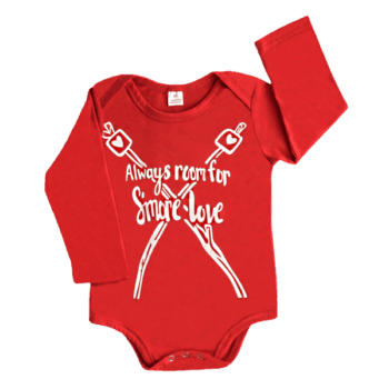 Red baby body suit with long sleeves