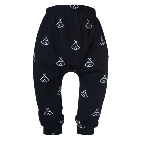 Black Baby Leggings with a Cute Teepee Print