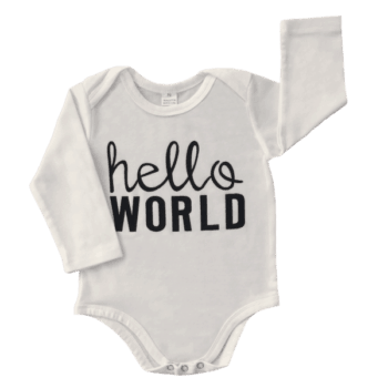 White long sleeve baby bodysuit