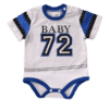 Blue and white short-sleeve bodysuit for baby
