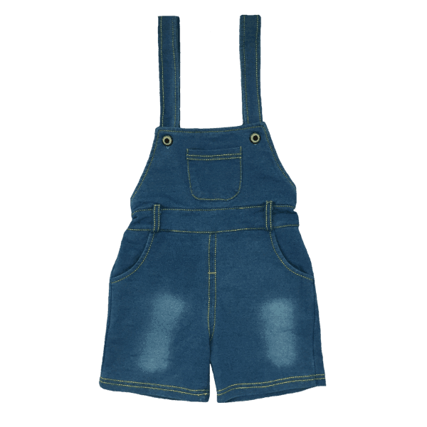 Toddler shortalls in Blue Denim Look Fabric