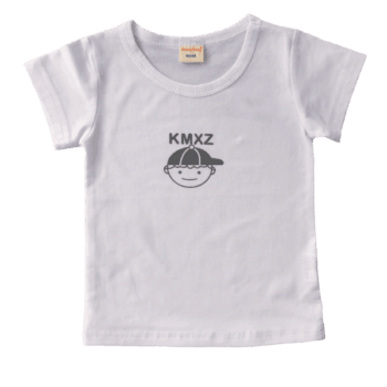 White kids t shirt with a cute little graphic on front