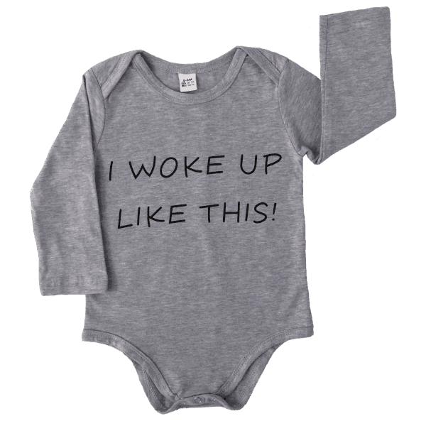 Cute infant bodysuit in grey