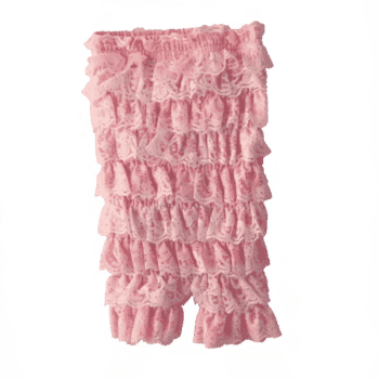 baby lace rompers with pink ruffles