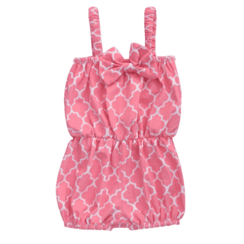 Pink quatrefoil design baby summer playsuit