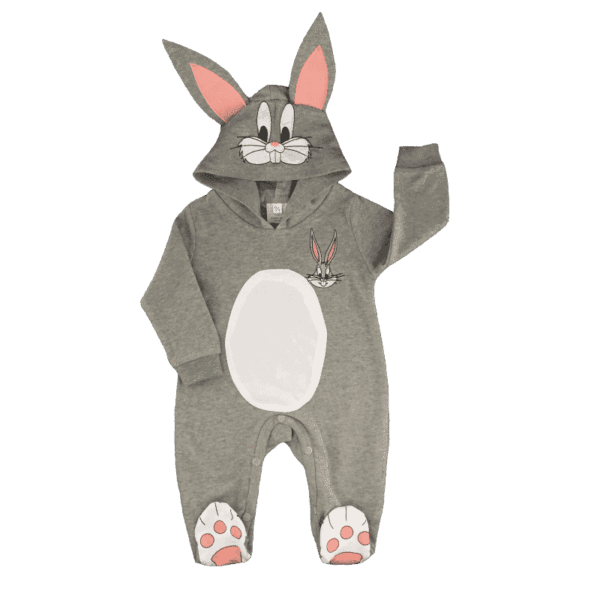 Hooded baby onesie in a bunny rabbit style