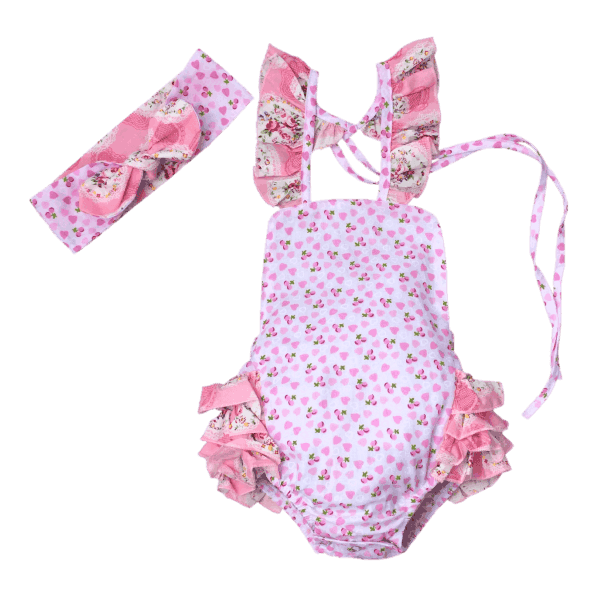 Vintage floral romper in pink