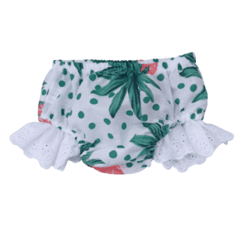 Baby bloomers with lace trim
