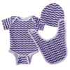 trendy baby clothes set in purple chevron fabric