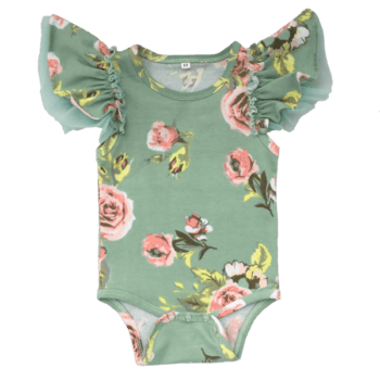 vintage baby clothes in green floral fabric