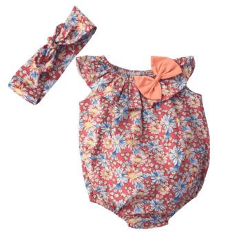 Baby Girl Floral Romper with Matching Headband