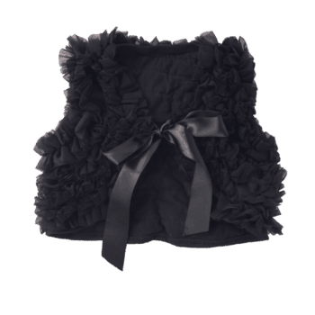 Infant Black Vest with Chiffon Ruffles