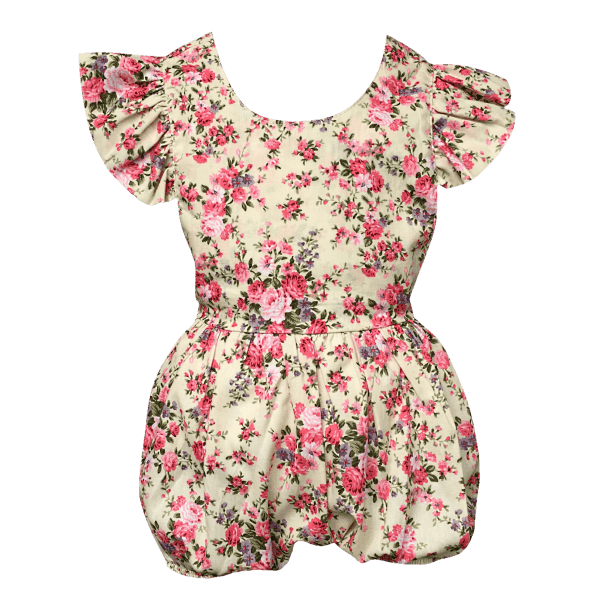 Frilly Baby Rompers in Floral Fabric