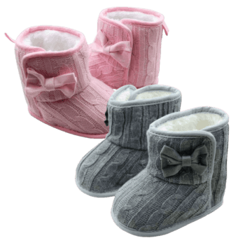 Infant Girl Booties in Grey or Pink