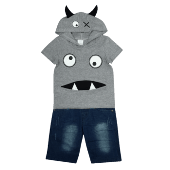 Kids Hoodie and Denim Shorts Set